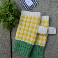 White, yellow fingerless mittens, wrist warmers, yellow knitted gloves