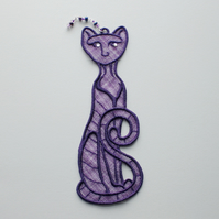 REDUCED.Embroidered Lace Cat Bookmark