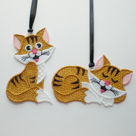 Cat decorations, pair,  Embroidered Lace. Reduced