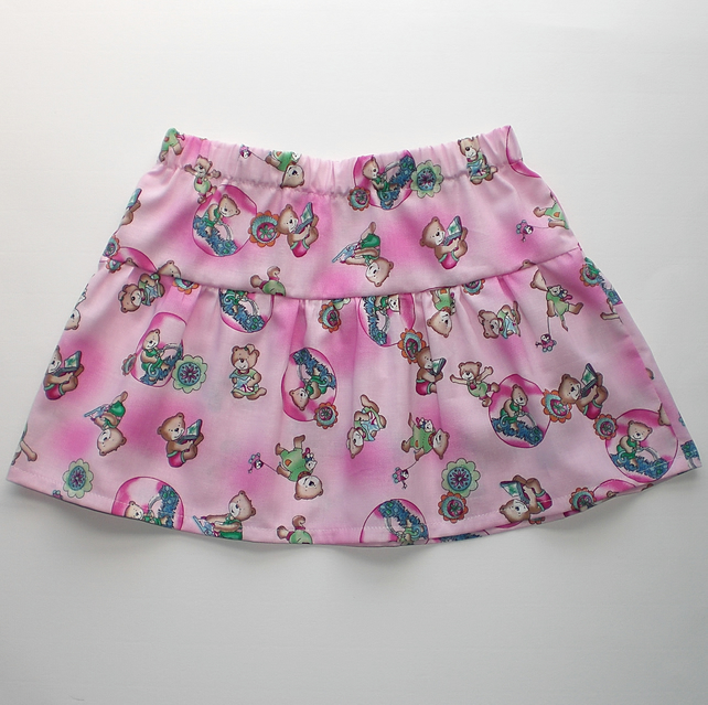 SALE:Toddlers elasticated skirt with teddy bear print.