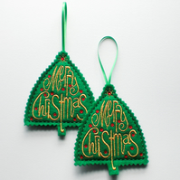 Christmas Greeting Decoration. Set of 2