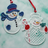 Embroidered Lace snowmen, set of 2