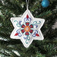 Embroidered Christmas Star decoration