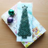 Embroidered Lace Christmas Tree  Bookmark