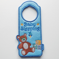 'Baby sleeping' door hanger