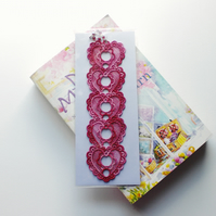 REDUCED. Embroidered Lace Heart Bookmark.