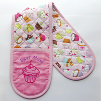 'Best Mum' Oven Gloves. Quilted