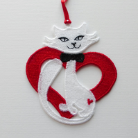 Heart  Cat decoration. Embroidered Lace