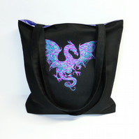 Embroidered Dragon Tote Bag