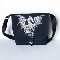 Small embroidered dragon shoulder bag