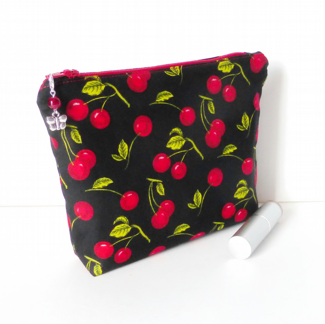 REDUCED.Make up bag, cosmetic bag, cherries.