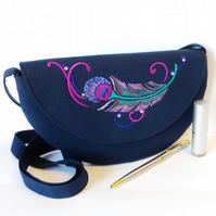 Cross body bag with feather embroidery, semi-circular