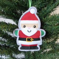 Embroidered Father Christmas decoration. Large size