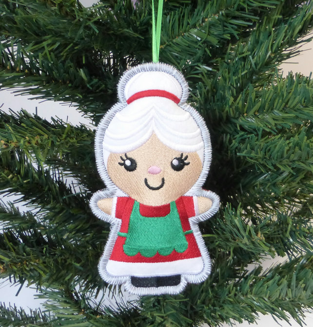 Embroidered Mrs. Christmas decoration. Large size