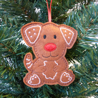 'Gingerbread' dog Christmas decoration, felt.