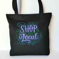 Embroidered Tote Bag, 'Shop Local'