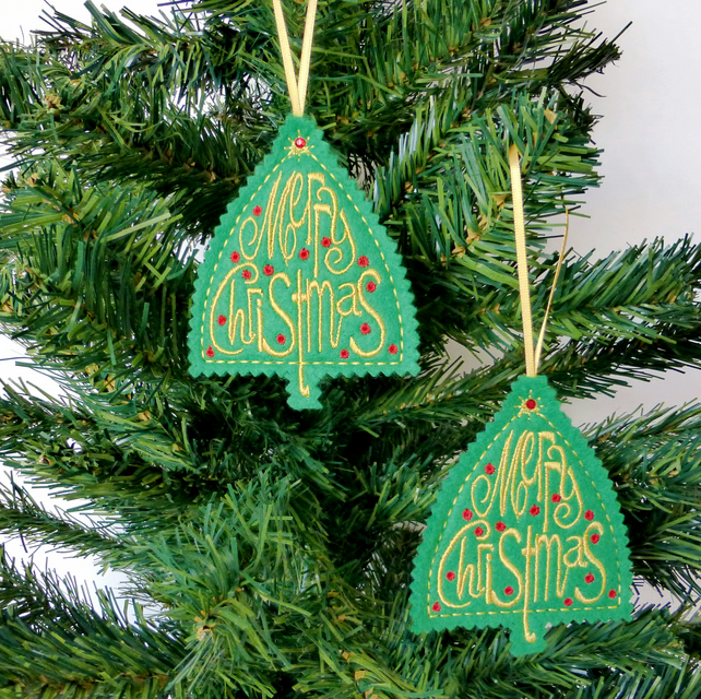 REDUCED Christmas Greeting Decoration. Set of 2