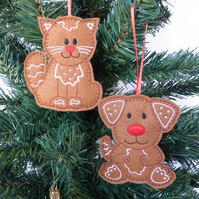 'Gingerbread' Cat & Dog Christmas decorations, set of 2