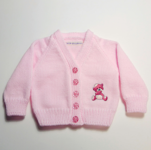 Baby cardigan with embroidered teddy motif