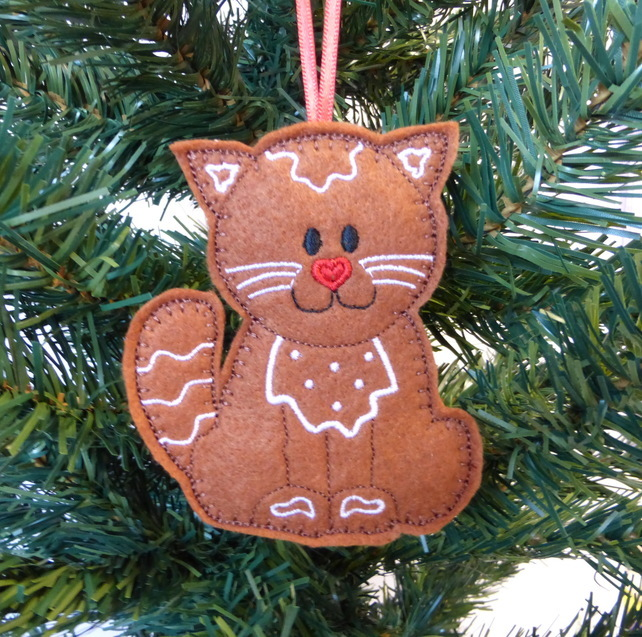 gingerbread cat christmas decoration felt - Cat Christmas Decorations