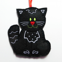 Black Cat hanging decoration, felt.
