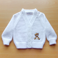 Baby cardigan with embroidered teddy motif. Made to order.