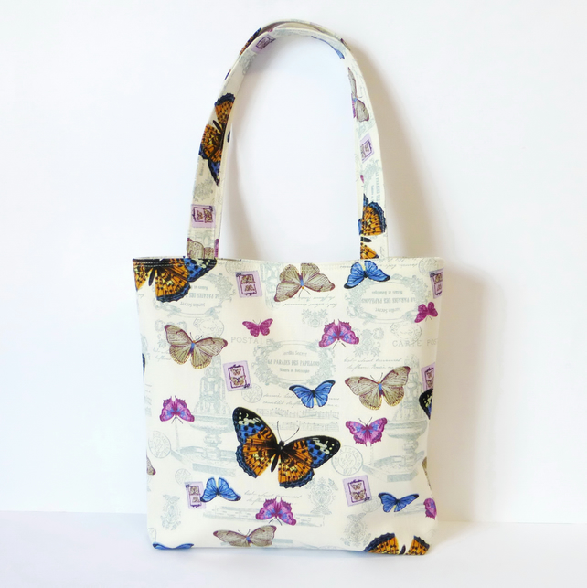 Butterfly handbag, small tote bag.