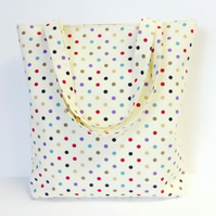 Cream Spotty Tote Bag