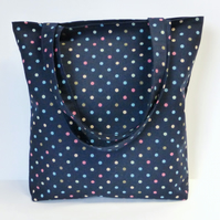 Navy Blue Spotty Tote Bag