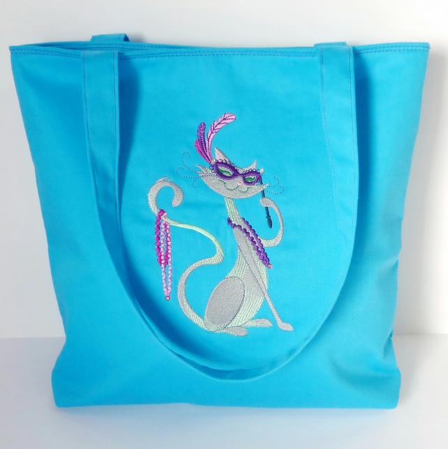 Embroidered Cat Tote Bag