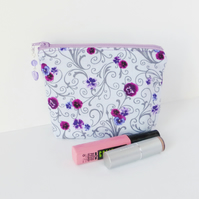 Make up bag, purple floral