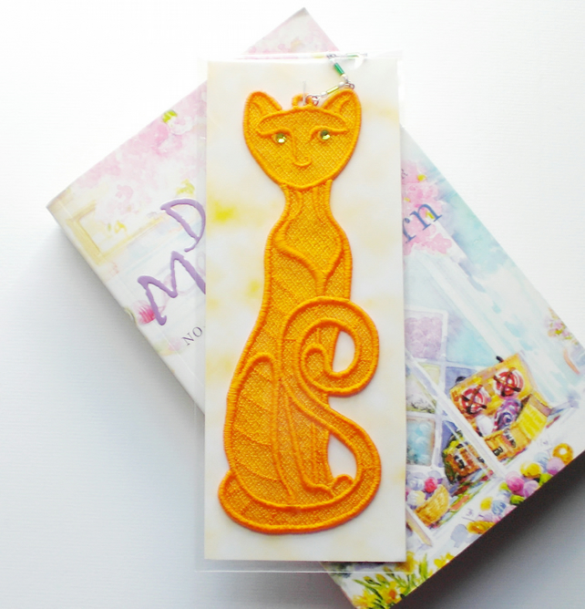 Cat Bookmark, embroidered lace, reduced