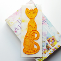 REDUCED! Embroidered Lace Cat Bookmark.