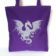 Purple Tote Bag, dragon