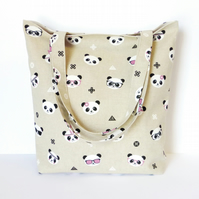 Tote Bag, panda faces
