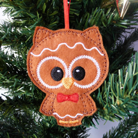 'Gingerbread' Owl Christmas decoration, felt.