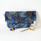 Clutch bag, butterflies, dark blue.