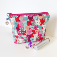 Make up bag, cosmetic bag, cats. Reduced.