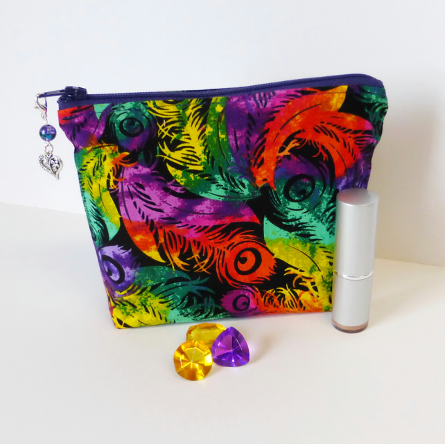 REDUCED. Make up bag, cosmetic bag, vibrant feathers.