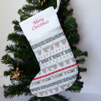 SALE Christmas stocking, quilted