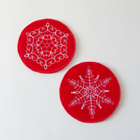 SALE: Snowflake Embroidered coasters. Set of 2