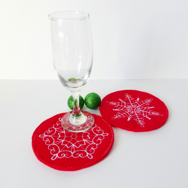 Snowflake Embroidered coasters. Set of 2