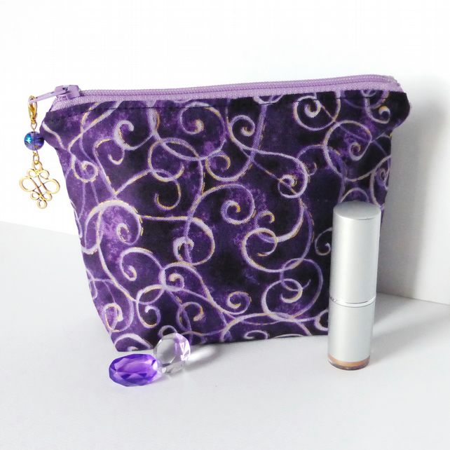 Make up bag, cosmetic bag, purple swirls