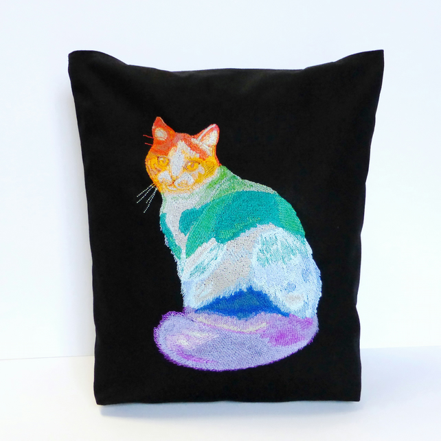 Cat Tote Bag, Embroidered - Folksy