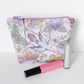 Make up bag, zipped pouch, birds & butterflies, medium size.
