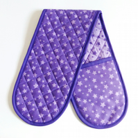Purple star oven Gloves. Quilted