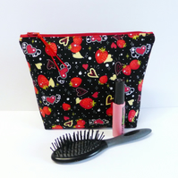 Make up bag, zipped pouch, strawberries & hearts. Large size
