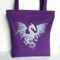 Purple Tote Bag, dragon, embroidered.