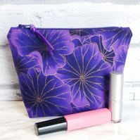 Purple make up bag, zipped pouch, cosmetic bag,  medium size.