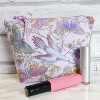 Birds & Butterflies zipped pouch, make up bag, cosmetic bag, medium size.